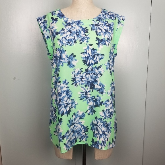 J. Crew Tops - J.Crew bright green floral top size S -Y2